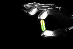 robothanden för illustrationen 3d håller preventivpilleren Royaltyfria Foton