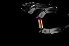 robothanden för illustrationen 3d håller preventivpilleren Royaltyfri Foto