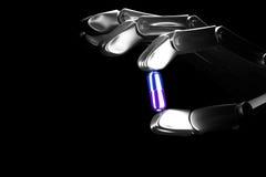 robothanden för illustrationen 3d håller preventivpilleren Royaltyfria Bilder