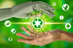 Robothanden skyddar och den mänskliga handen som rymmer med faktiska miljösymboler över nätverksanslutningen på naturbakgrun royaltyfri fotografi