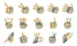Robothandgester Robotic händer Mekaniskt symbol för teknologimaskinteknik gester hand seten Stor robotarm stock illustrationer