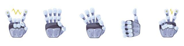 Robothandgester Robotic händer Mekaniskt symbol för teknologimaskinteknik gester hand seten tecken stock illustrationer