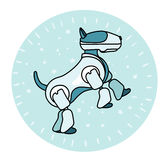 Robothunden står på dess bakre ben Arkivbild