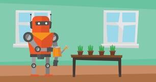 Robothushållerska som bevattnar blommor royaltyfri illustrationer