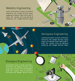Robotic, aerospace, biological engineering education infographic Stock Photos