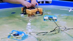 Robotic Aqua Bot Rover Swimming Pool. Slow motion. Close up stock footage