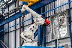 Robotic arc welding machine. In smart factory in metalwork industry royalty free stock images
