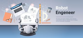 Robotic architect drawing blueprint building plan robot engineer at workplace office workshop artificial intelligence. Concept top angle desktop view horizontal vector illustration