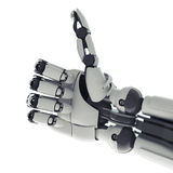 Robotic arm. Isolated robotic arm showing okay sign on white background Stock Photo