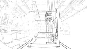 Robotic Arm Assembling 3d Printer On Conveyor Belt stock video footage
