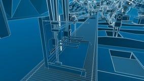 Robotic Arm Assembling 3d Printer On Conveyor Belt stock video