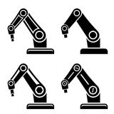 Robotic arm black symbol Royalty Free Stock Photo