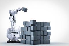 Robotic arm build cubic. 3d rendering robotic arm build cubic Stock Photography