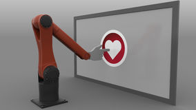 Robotic arm clicking heart-shaped like button. Automated social media promotion concept. 3D rendering. Robotic arm clicking heart-shaped like button. Automated Royalty Free Stock Photography