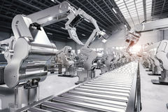 Robotic arm with conveyor line. 3d rendering robotic arm with conveyor line royalty free stock photos
