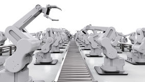Robotic arm with conveyor line Royalty Free Stock Photo
