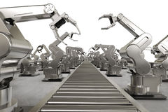 Robotic arm with conveyor line Royalty Free Stock Image