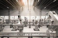 Robotic arm with conveyor line Stock Image