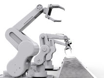 Robotic arm with conveyor line Stock Photography
