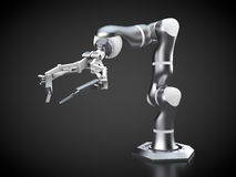 Robotic arm. 3d rendering: robotic arm on black background Royalty Free Stock Photography