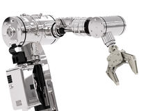 Robotic arm. 3d rendering robotic arm on white background royalty free stock images