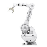 Robotic arm. 3d rendering robotic arm on white background stock photos