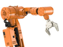 Robotic arm. 3d rendering robotic arm on white background royalty free stock image