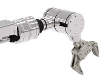 Robotic arm. 3d rendering robotic arm on white background stock image