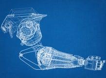 Robotic Arm Design Concept Architect Blueprint. Shoot Of The Robotic Arm Design Concept Architect Blueprint Stock Photo