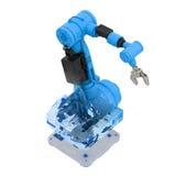 Robotic arm för blå wireframe Arkivfoto