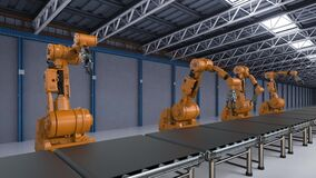 Robotic arm in factory
