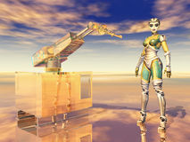 Robotic arm and female robot. Computer generated 3D illustration with robotic arm and female robot Royalty Free Stock Photo