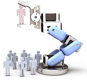 Robotic arm find choose best person. Robot hand chooses one Person in group of people HR decision vector illustration
