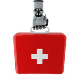 Robotic arm and first aid kit Stock Images
