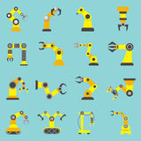 Robotic Arm Flat Yellow Icons Set Royalty Free Stock Photography