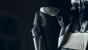 Robotic arm. Futuristic cyborg arm in action. stock footage
