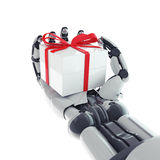 Robotic arm with gift. Isolated robotic arm with gift on white background Royalty Free Stock Images