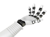 Robotic arm hand gesture on white background. 3d render illustration Stock Photography