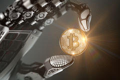 Robotic arm holding bitcoin with metallic fingers. Robot holding bitcoin with fingers in mechanical arm. Closeup 3d rendered image for your conceptual virtual Stock Photography