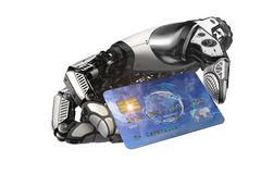 Robotic arm holding plastic bank card with metallic fingers. Robot holding bitcoin with fingers in mechanical arm. Closeup 3d rendered image for your conceptual Stock Photo