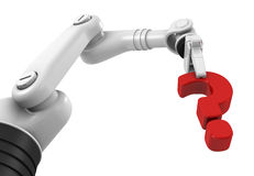 Robotic arm holding question mark Royalty Free Stock Photos