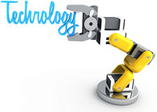 Robotic arm holding Technology word. Robot arm holding word Technology as article text subject title above copy-space stock illustration
