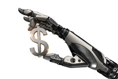 Robotic arm holding US dollar sign with metallic fingers. Mechanical robotic arm holding currency symbol of US dollar with fingers. Image futuristic template on Stock Photo