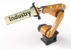 Industry metal sign. The robotic arm holds the industry metallic sign on white background vector illustration