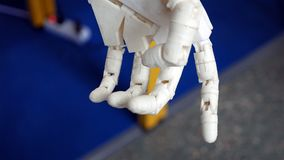 Robotic prosthetic limb arm. Robotic arm for human prosthesis with computer controlled movement and motorized joint articulation Royalty Free Stock Images