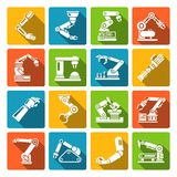 Robotic arm icons flat Royalty Free Stock Image
