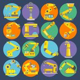 Robotic arm icons flat Stock Photography