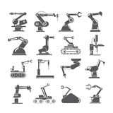 Robotic arm icons, industry assembly robots. Set of 16 robotic arm icons, industry assembly robots Stock Photos