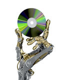 Robotic arm keeps a CD. HighTechnology 3d illustration. Robotic arm keeps a CD. Retro and new modern technology together. Conceptual 3d illustration Stock Photo