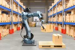 Robotic arm med kartongen Begrepp för automatiskt lager 3d royaltyfri bild
